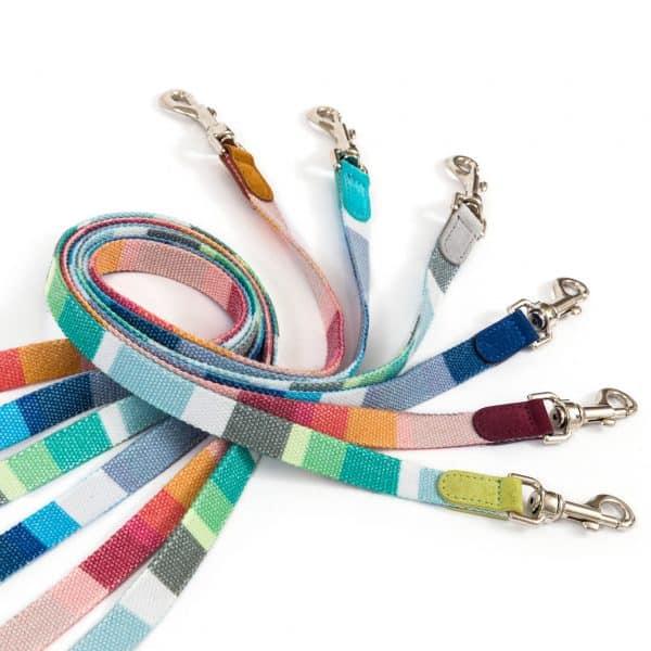 Striped fabric dog lead