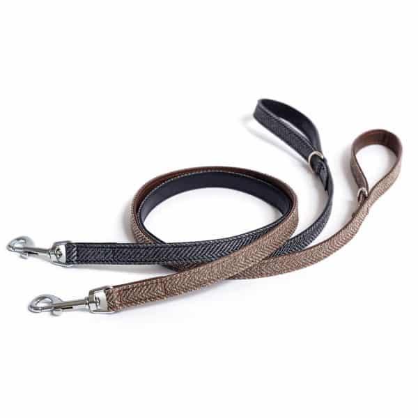 Tweed leather dog lead