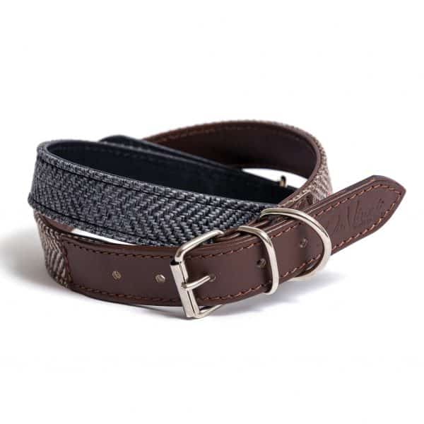 Tweed leather dog collar