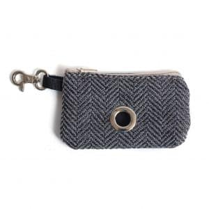 Tweed leather poo bag pouch