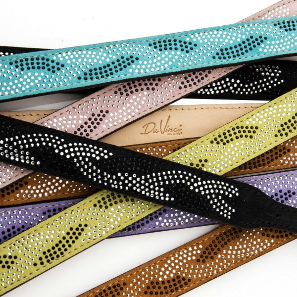 colourful suede leather and swarovski crystal dog collars